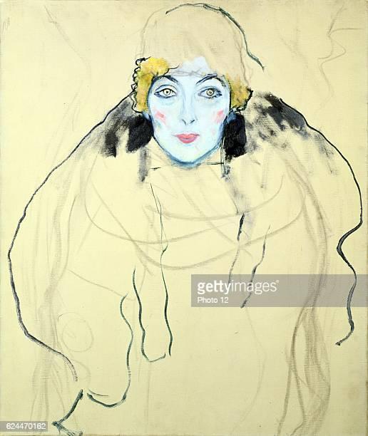 Gustav Klimt Austrian school Head of a Woman Oil on wood