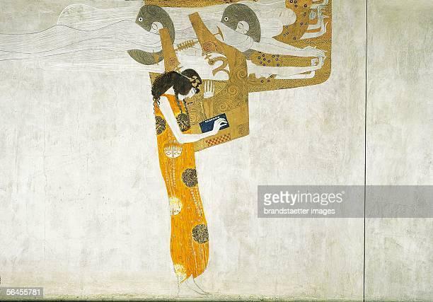 Gustav Klimt Beethoven Frieze D127 Section with figurative composition Casein on stucco 1902 [Beethovenfries D127 Ausschnitt mit der figuralen...