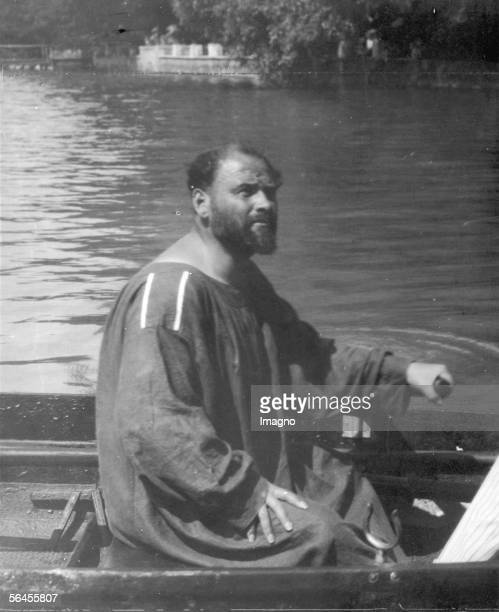 Gustav Klimt in a rowboat at the Attersee Photography Around 1910 [Gustav Klimt im Ruderboot auf dem Attersee Um 1910 Photographie...