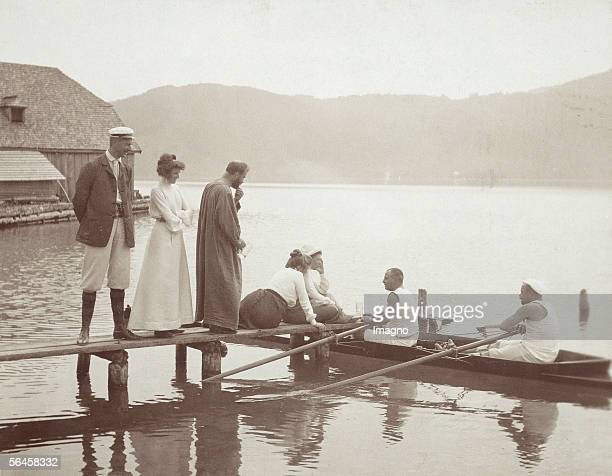 Gustav Klimt with his friends on the landing stage of the villa Paulick in Seewalchen at the Attersee lake next to him Emilie Floege Photography...