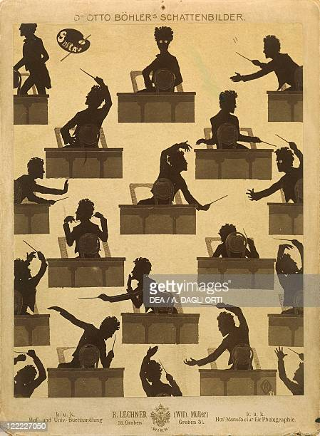 Gustav Mahler portrayed as conductor in a silhouette by Otto Bohler
