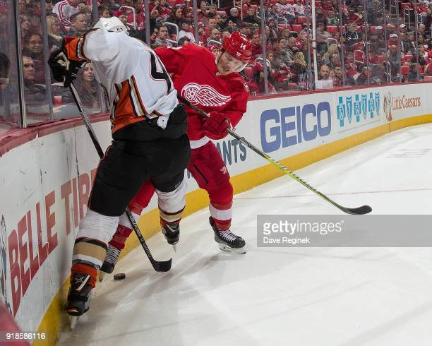 Gustav Nyquist of the Detroit Red Wings battles in the corner with Josh Manson of the Anaheim Ducks during an NHL game at Little Caesars Arena on...