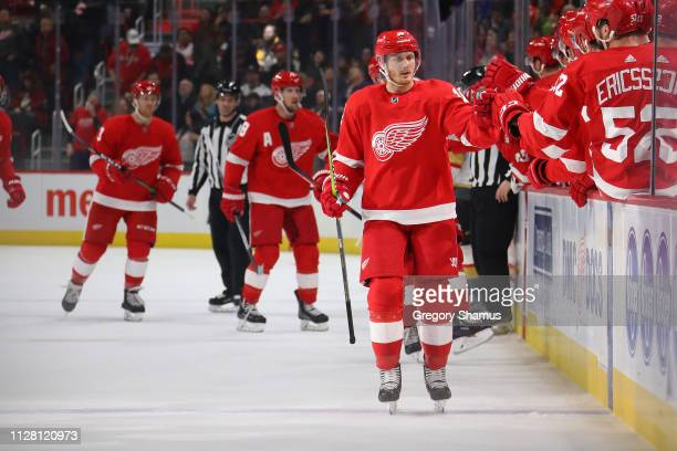 Gustav Nyquist of the Detroit Red Wings celebrates his first period goal with teammates while playing the Vegas Golden Knights at Little Caesars...