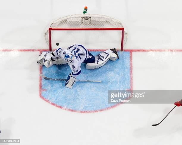 Gustav Nyquist of the Detroit Red Wings scores a second period goal on Louis Domingue of the Tampa Bay Lightning during an NHL game at Little Caesars...