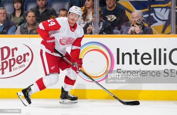 Gustav Nyquist of the Detroit Red Wings skates against the Detroit Red Wings at Bridgestone Arena on February 12 2019 in Nashville Tennessee