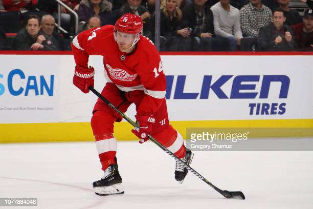 Gustav Nyquist of the Detroit Red Wings skates against the Tampa Bay Lightning at Little Caesars Arena on December 04 2018 in Detroit Michigan Tampa...