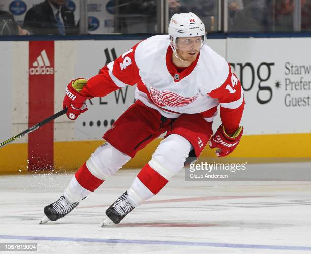 Gustav Nyquist of the Detroit Red Wings skates against the Toronto Maple Leafs during an NHL game at Scotiabank Arena on December 23 2018 in Toronto...