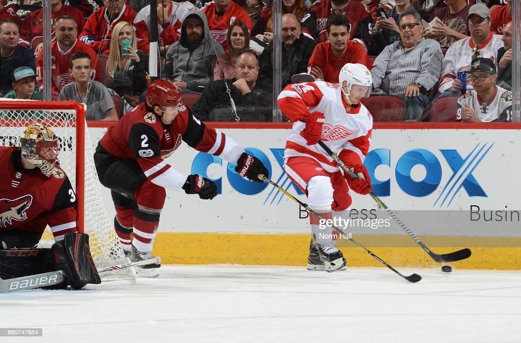 Gustav Nyquist #14 of the Detroit Red Wings skates with the puck behind the net as Luke Schenn #2 of the Arizona Coyotes defends during the third period at Gila River Arena on October 12, 2017 in Glendale, Arizona.