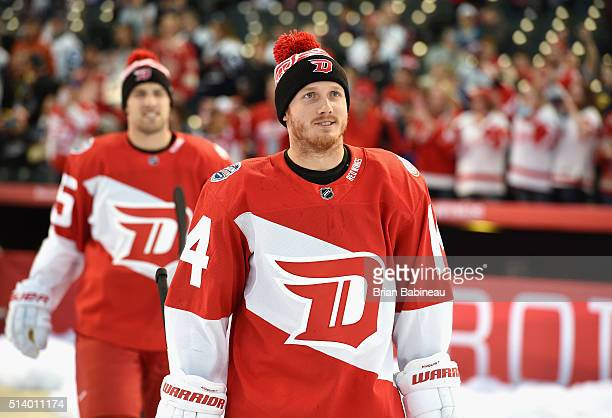 Gustav Nyquist of the Detroit Red Wings takes the field to warm up before playing the Colorado Avalanche in the 2016 Coors Light Stadium Series game...