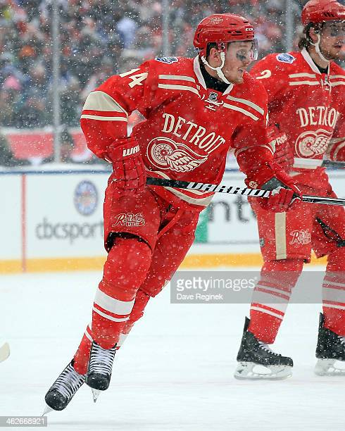 Gustav Nyquist of the Detroit Red Wings turns up ice against the Toronto  Maple Leafs during 142c0abb4