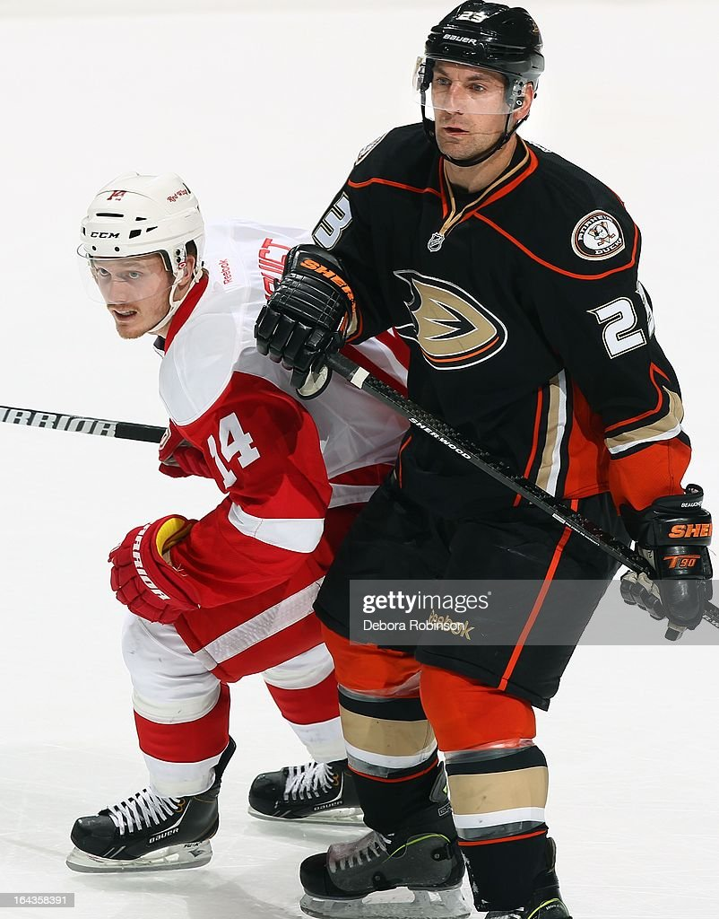 Gustav Nyquist #14 of the Detroit Red Wings works for position against Francois Beauchemin #23 of the Anaheim Ducks. March 22, 2013 at Honda Center in Anaheim, California.