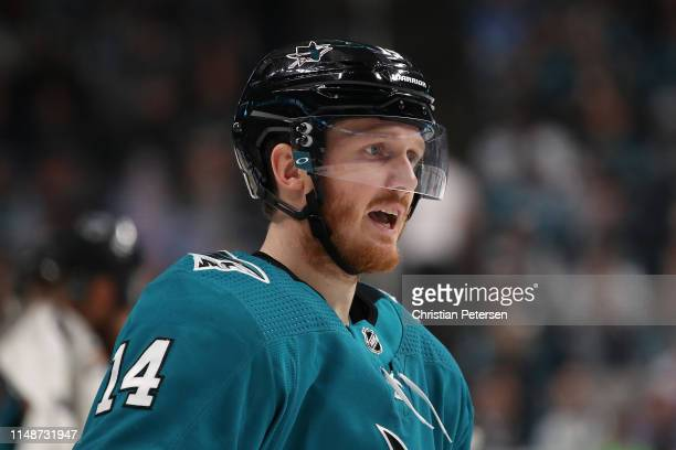 Gustav Nyquist of the San Jose Sharks against the St Louis Blues in Game One NHL Western Conference Final during the 2019 NHL Stanley Cup Playoffs at...