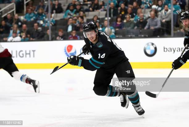 Gustav Nyquist of the San Jose Sharks in action against the Colorado Avalanche at SAP Center on March 01 2019 in San Jose California