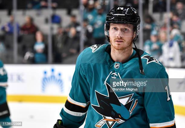 Gustav Nyquist of the San Jose Sharks skates during warmups against the Chicago Blackhawks at SAP Center on March 3 2019 in San Jose California
