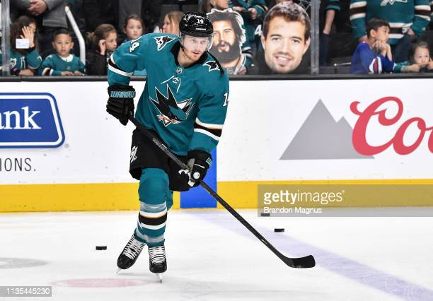Gustav Nyquist of the San Jose Sharks skates during warmups against the Colorado Avalanche at SAP Center on April 06 2019 in San Jose California