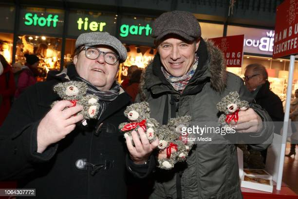 Gustav Peter Woehler and Andreas Brucker during a Teddy Bear charity sale in favor of Leuchtfeuer eV at Wandelhalle Hauptbahnhof on November 22 2018...