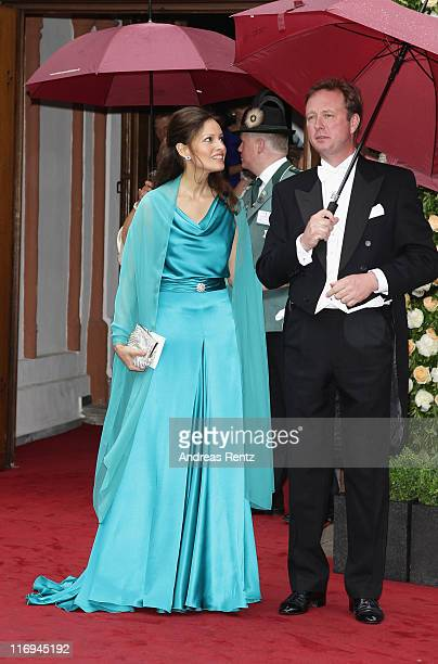 Gustav Prince of SaynWittgensteinBerleburg and Carina Axelsson attend the wedding of Princess Nathalie zu SaynWittgensteinBerleburg and Alexander...