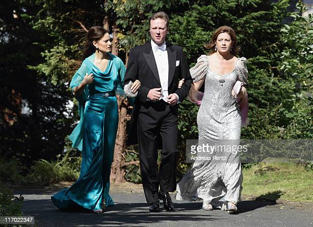 Gustav Prince of SaynWittgensteinBerleburg with Carina Axelsson and Princess Alexia of Greece arrive fot the wedding of Princess Nathalie zu...