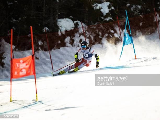 """Gustav R Voello of the University of Utah during the first run of the men""""u2019s giant slalom on the first day of the NCAA Skiing Championships at..."""