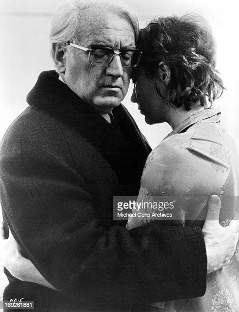 Gustav Rudolf Sellner holds Gila Von Weitershausen in a scene from the film 'The Pedestrian', 1973.
