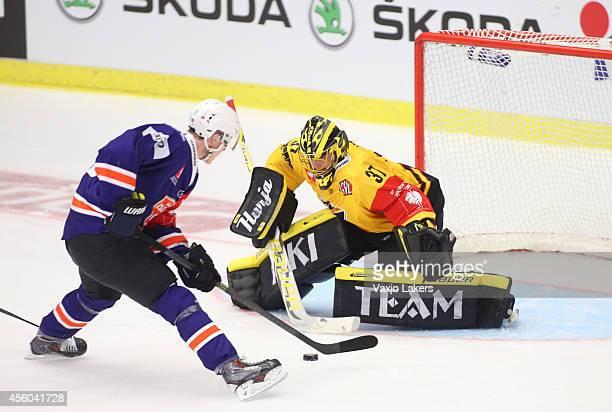 Gustav Rydahl of Vaxjo Lakers on the breakaway that Eero Kilpelainen Goaltender of KalPa Kuopio saves during the Champions Hockey League group stage...