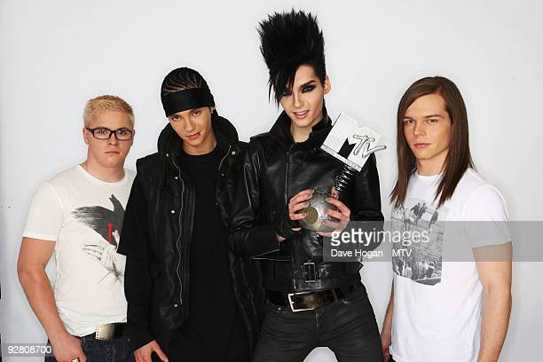 Gustav Schaefer Tom Kaulitz Bill Kaulitz and Georg Listing of Tokio Hotel pose for a picture in the studio during the 2009 MTV Europe Music Awards...
