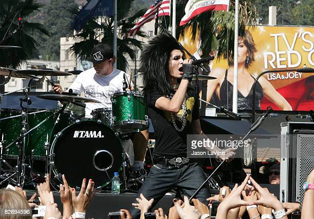 Gustav Schafer and Bill Kaulitz of Tokio Hotel perform at Hollywood Highland on September 6 2008 in Hollywood California