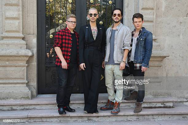 Gustav Schafer Bill Kaulitz Tom Kaulitz and Georg Listing of Tokio Hotel attend a photocall and press conference at Universal Music on November 12...