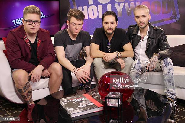 Gustav Schafer Georg Listing Tom Kaulitz and Bill Kaulitz from the band Tokio Hotel visits the Young Hollywood Studio on January 8 2015 in Los...