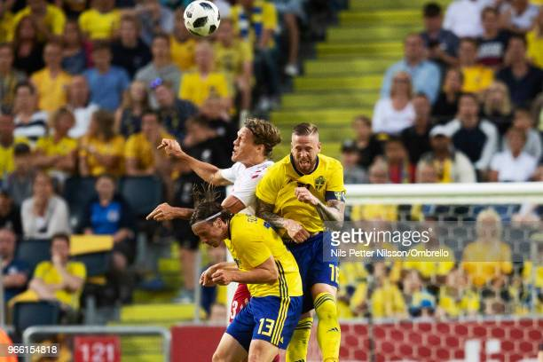 Gustav Svensson and Pontus Jansson of Sweden during the International Friendly match between Sweden and Denmark at Friends Arena on June 2 2018 in...