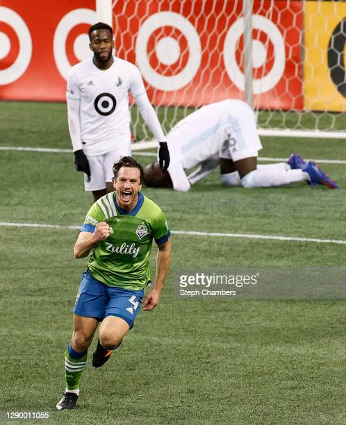 Gustav Svensson of Seattle Sounders celebrates his game-winning goal against Minnesota United in the second half during the Western Conference Final...