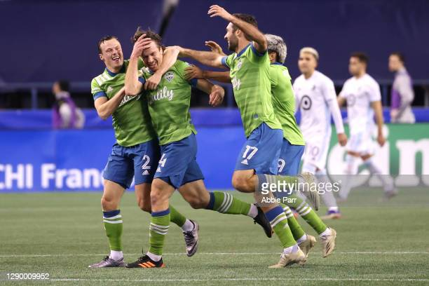 Gustav Svensson of Seattle Sounders celebrates his goal in the 93rd minute against Minnesota United during their Western Conference Finals game at...