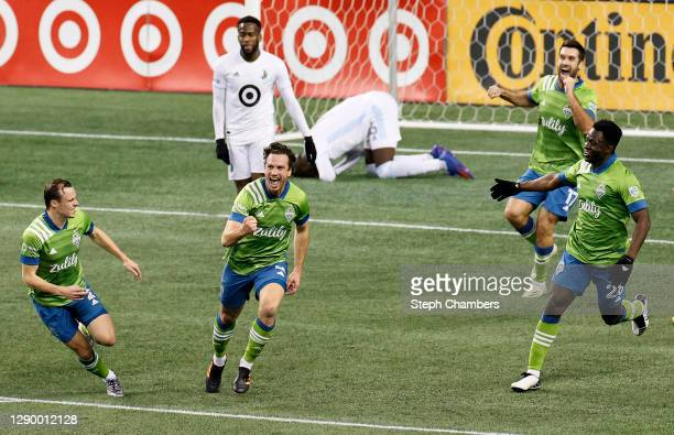 Gustav Svensson of Seattle Sounders celebrates his winning goal against Minnesota United during the Western Conference Final of the MLS Cup Playoffs...