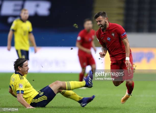 Gustav Svensson of Sweden fouls Bruno Fernandes of Portugal during the UEFA Nations League group stage match between Sweden and Portugal at Friends...