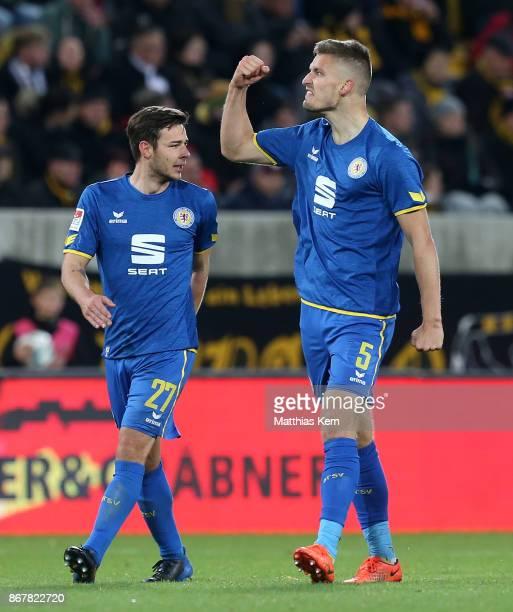 Gustav Valsvik of Braunschweig jubilates after scoring the second goal during the Second Bundesliga match between SG Dynamo Dresden and Eintracht...