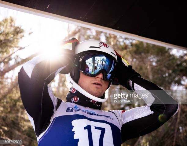 """Gustav Vollo of the University of Utah before the start of the second run of the men""""u2019s slalom at the NCAA Skiing Championships on March 12, 2021..."""