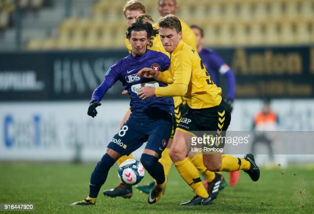 Gustav Wikheim of FC Midtjylland and Alexander Ludwig of AC Horsens compete for the ball during the Danish Alka Superliga match between AC Horsens...