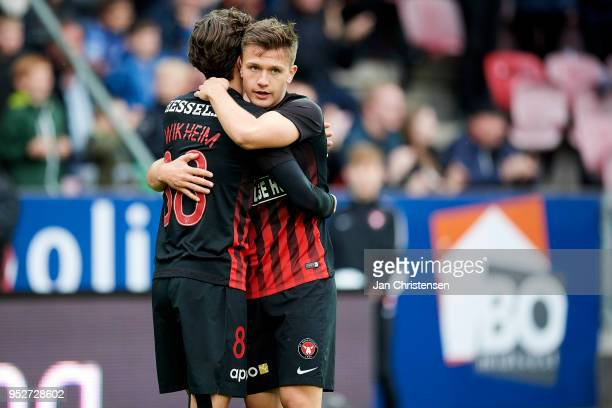 Gustav Wikheim of FC Midtjylland and Mikkel Duelund of FC Midtjylland celebrate after the 30 from Mikkel Duelund during the Danish Alka Superliga...