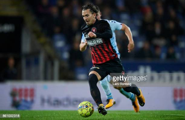Gustav Wikheim of FC Midtjylland controls the ball during the Danish Alka Superliga match between Sonderjyske and FC Midtjylland at Sydbank Park on...
