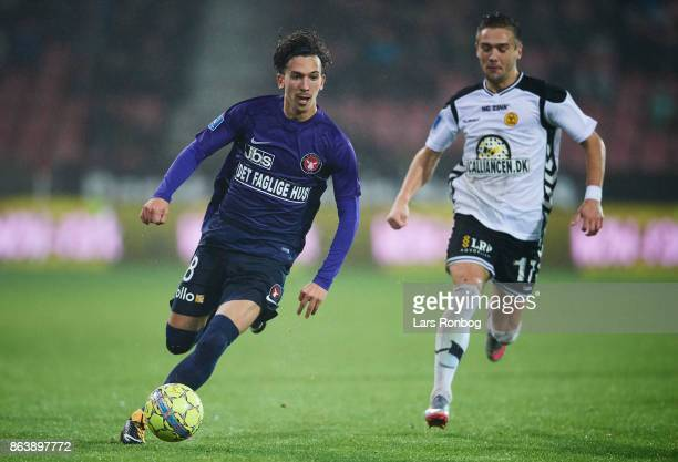 Gustav Wikheim of FC Midtjylland controls the ball during the Danish Alka Superliga match between FC Midtjylland and AC Horsens at MCH Arena on...