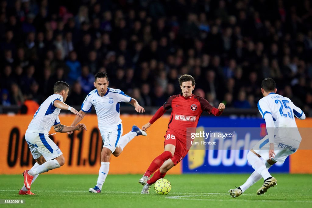 Gustav Wikheim of FC Midtjylland ct$ the UEFA Europa League Playoff 2nd Leg match between FC Midtjylland and Apollon Limassol at MCH Arena on August 24, 2017 in Herning, Denmark.