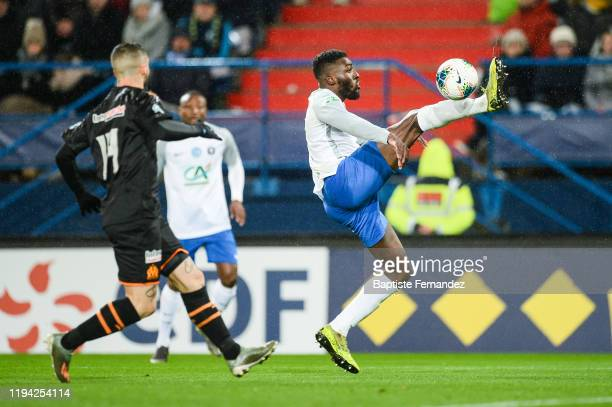 Gustave AKUESON of Granville during the French Cup Soccer match between US Granville and Olympique de Marseille at Stade Michel D'Ornano on January...