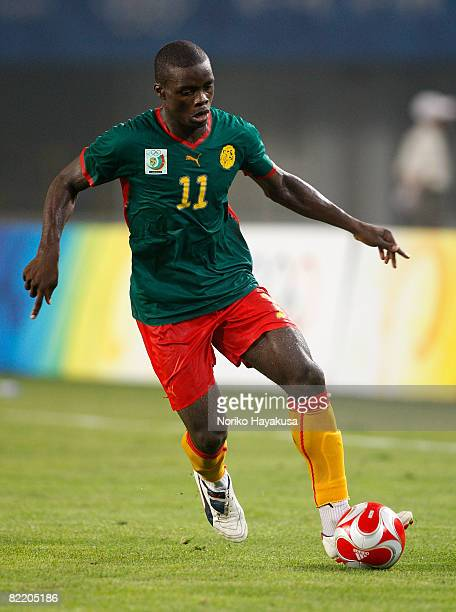 Gustave Bebbe of Cameroon controls the ball during Men's Group D match between South Korea and Cameroon on Day 1 of the Beijing 2008 Olympic Games on...