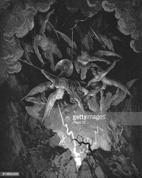 Gustave Dore illustration for John Milton epic poem dramatising the fall of Man in Bible Genesis Paradise Lost Book VI Falling through the breach in...
