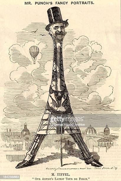Gustave Eiffel French civil engineer Cartoon by Edward Linley Sambourne in the Punch's Fancy Portraits series from Punch celebrating the building of...