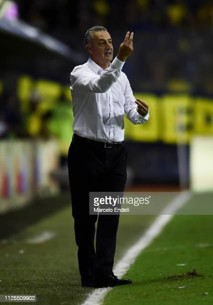 Gustavo Alfaro coach of Boca Juniors gestures during a match between Boca Juniors and Lanus as part of Superliga 2018/19 at Estadio Alberto J Armando...