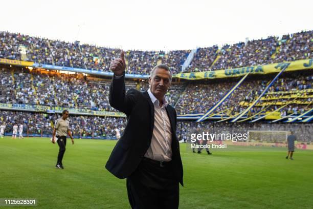 Gustavo Alfaro coach of Boca Juniors greets the fans before a match between Boca Juniors and Lanus as part of Superliga 2018/19 at Estadio Alberto J...