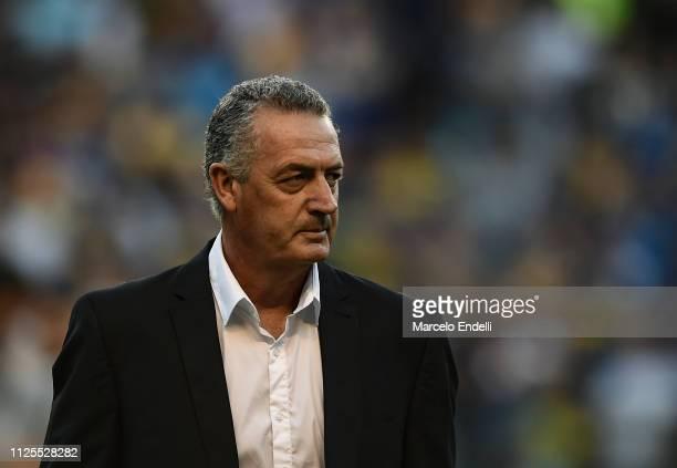 Gustavo Alfaro coach of Boca Juniors looks on during a match between Boca Juniors and Lanus as part of Superliga 2018/19 at Estadio Alberto J Armando...