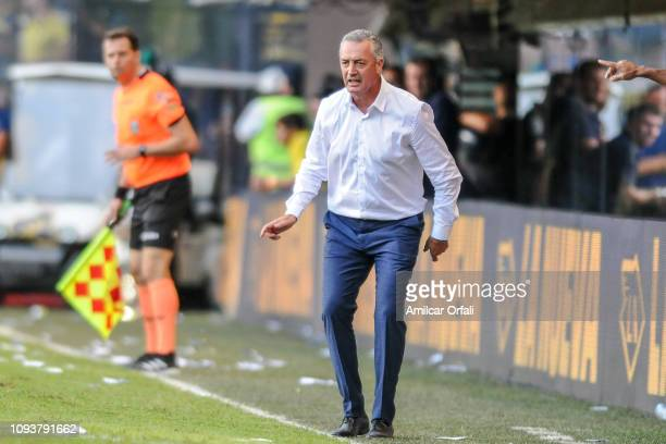 Gustavo Alfaro head coach of Boca Juniors gestures during a match between Boca Juniors and Godoy Cruz as part of Superliga 2018/19 at Estadio Alberto...