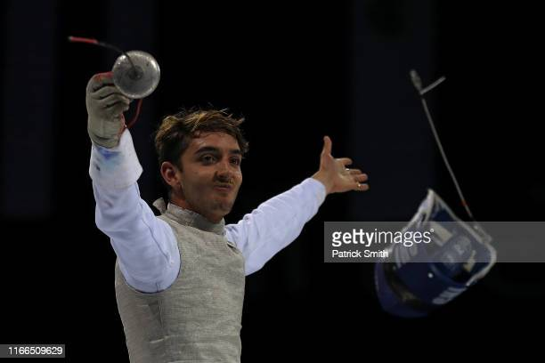 Gustavo Alonso Alarcon Sirriya of Chile celebrates against Race Imboden of the United States in the Men's Foil Individual Semifinalon Day 11 of Lima...